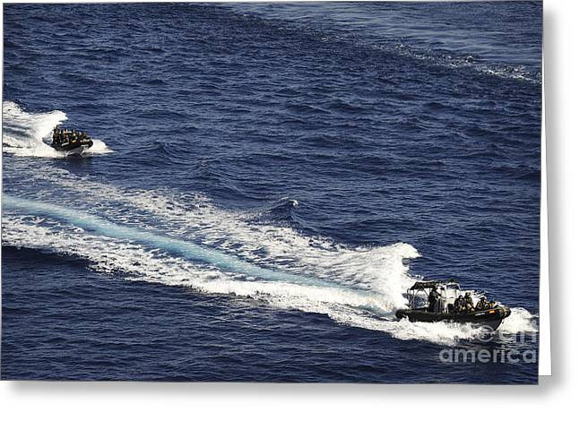 Two Spanish Navy Ridged-hull Inflatable Greeting Card by Stocktrek Images