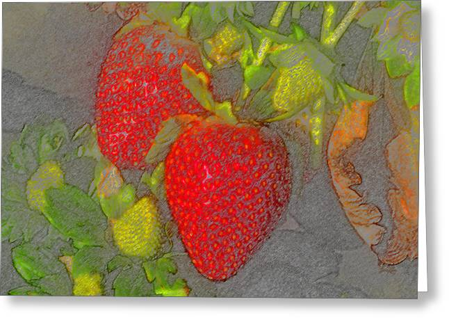 Two Strawberries Greeting Card by David Lee Thompson