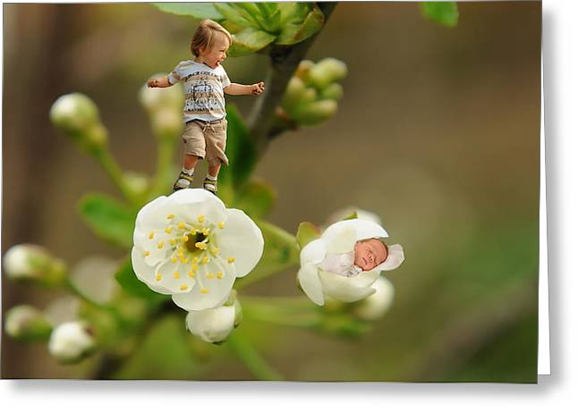 Two Tiny Kids Playing On Flowers Greeting Card by Jaroslaw Grudzinski
