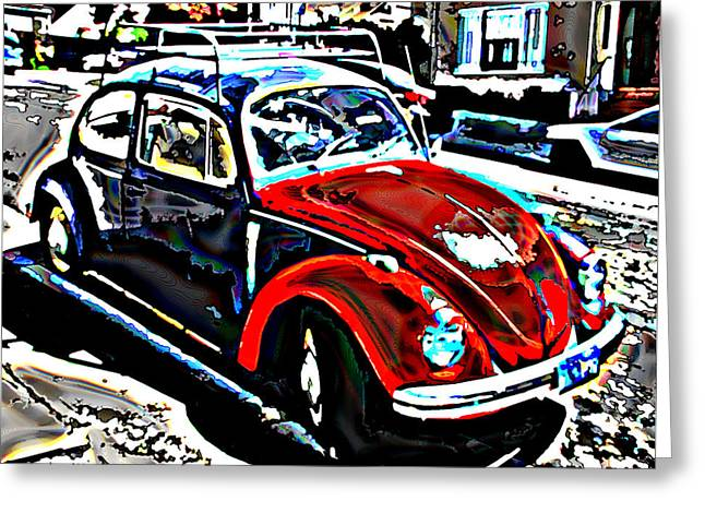 Two Toned Vw Beetle Greeting Card by Samuel Sheats