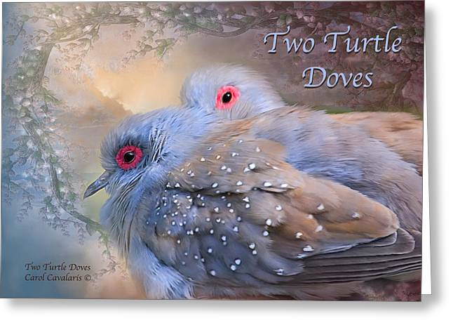 Two Turtle Doves Card Greeting Card by Carol Cavalaris