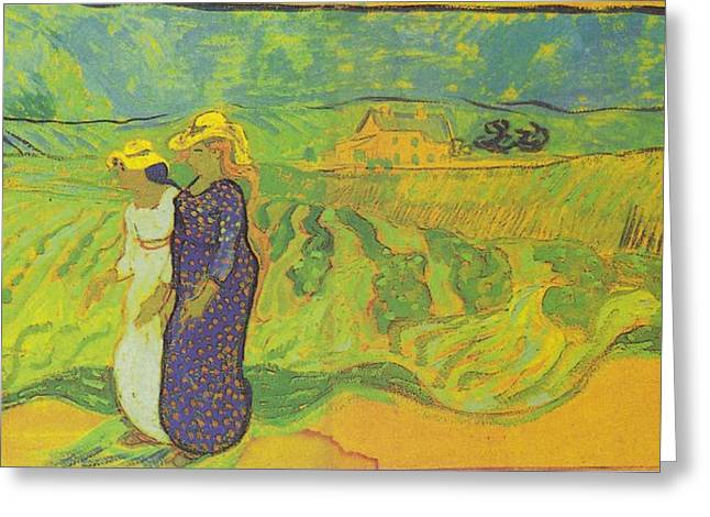 Two Women Crossing The Fields Greeting Card by Vincent Van Gogh