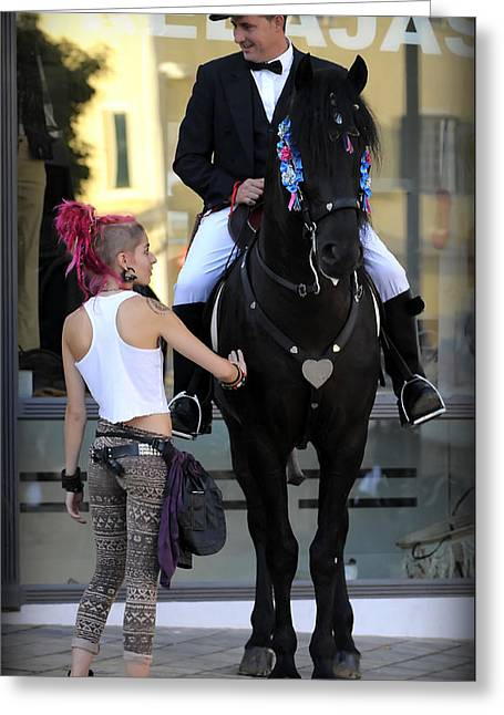 two world - A traditional Menorcan rider with a pink hair girl Greeting Card