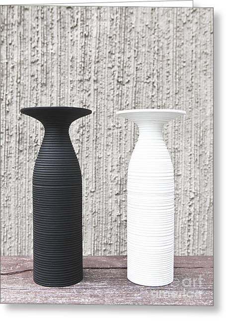 twoWhite and black vases Greeting Card by Chavalit Kamolthamanon