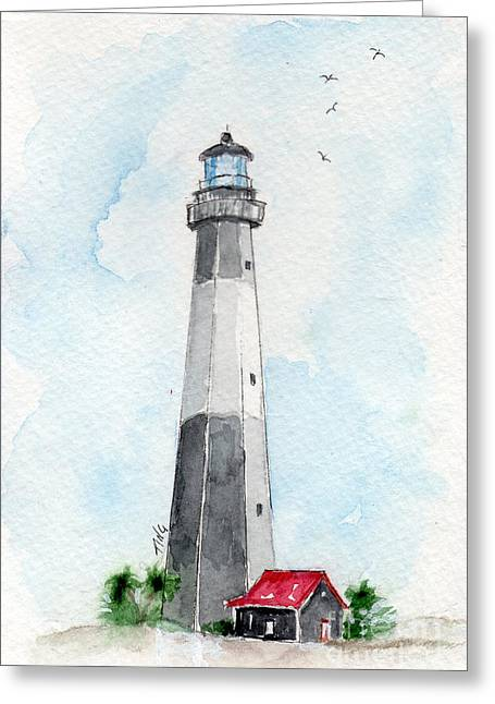 Greeting Card featuring the painting Tybee Light by Doris Blessington