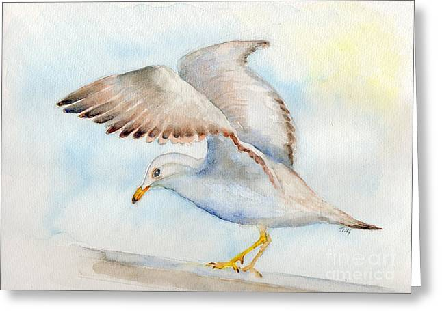 Greeting Card featuring the painting Tybee Seagull by Doris Blessington
