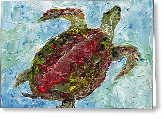Greeting Card featuring the painting Tybee Turtle Swimming by Doris Blessington
