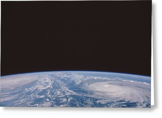 Typhoons Odessa And Pat, Seen Greeting Card by NASA / Science Source
