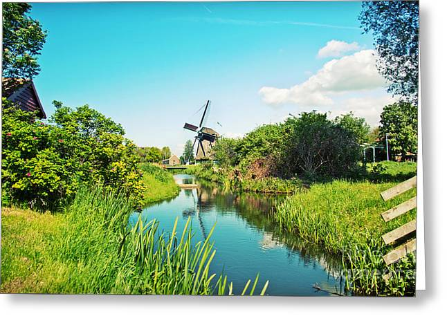 Greeting Card featuring the photograph Typical Dutch  Windmill by Ariadna De Raadt