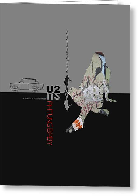 U2 Poster Greeting Card by Naxart Studio