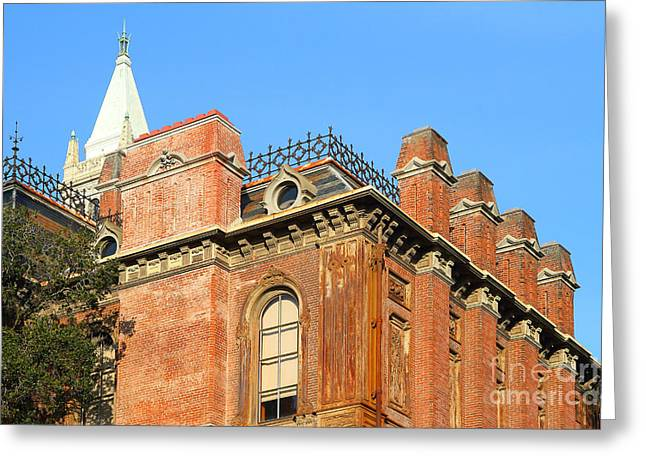Uc Berkeley . South Hall . Oldest Building At Uc Berkeley . Built 1873 . The Campanile In The Backgr Greeting Card by Wingsdomain Art and Photography