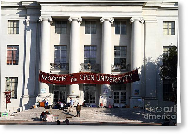 Uc Berkeley . Sproul Hall . Sproul Plaza . Occupy Uc Berkeley . 7d9991 Greeting Card