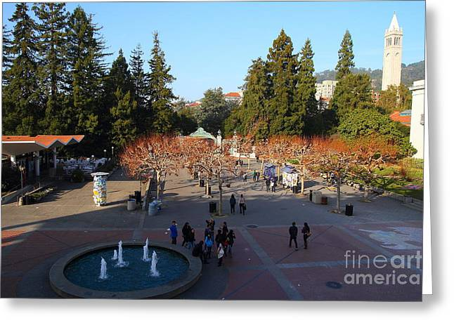 Uc Berkeley . Sproul Hall . Sproul Plaza . Sather Gate And Sather Tower Campanile . 7d10003 Greeting Card by Wingsdomain Art and Photography