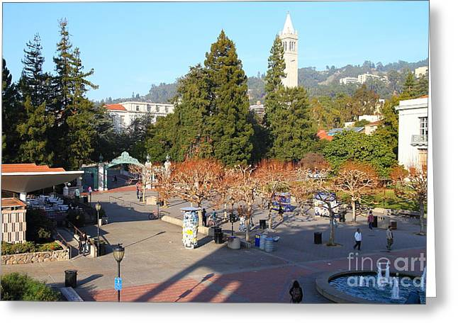 Uc Berkeley . Sproul Hall . Sproul Plaza . Sather Gate And Sather Tower Campanile . 7d10016 Greeting Card by Wingsdomain Art and Photography
