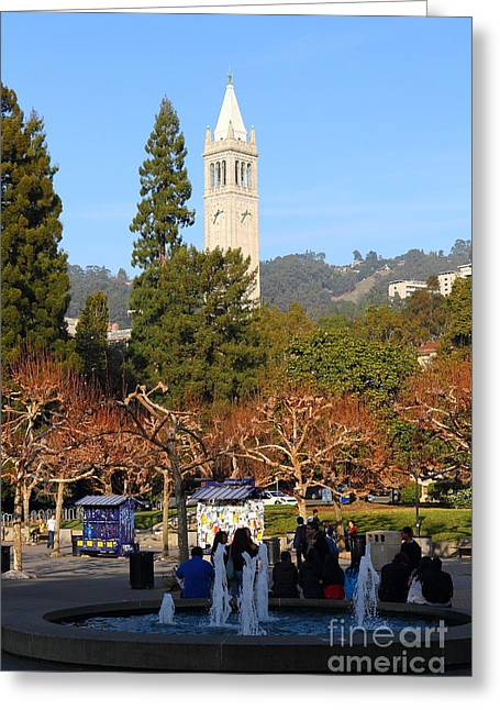 Uc Berkeley . Sproul Plaza . Sather Gate . 7d9998 Greeting Card by Wingsdomain Art and Photography