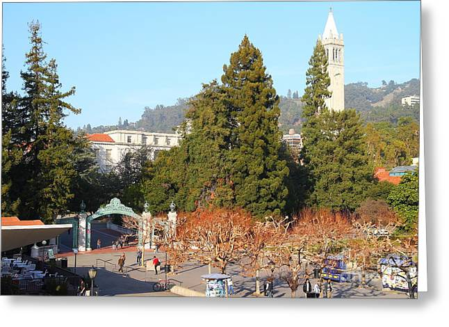 Uc Berkeley . Sproul Plaza . Sather Gate And Sather Tower Campanile . 7d10015 Greeting Card by Wingsdomain Art and Photography
