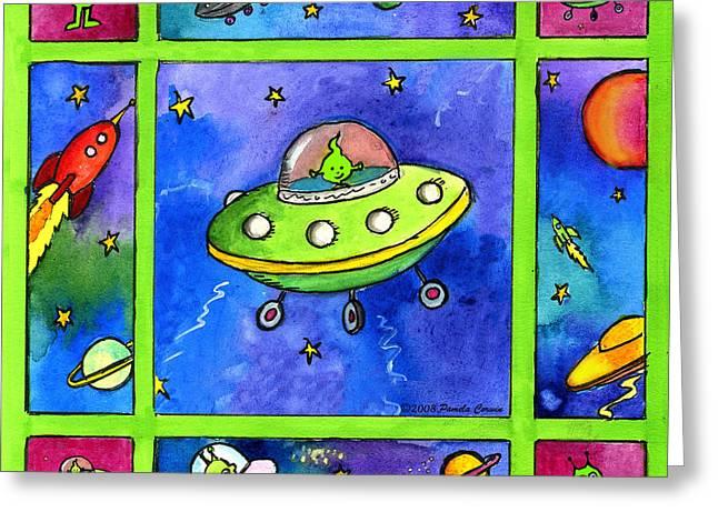 UFO Greeting Card by Pamela  Corwin