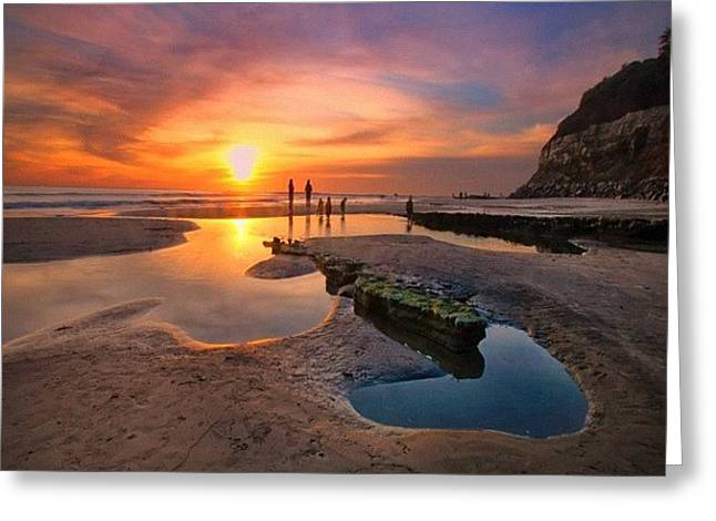Ultra Low Tide Sunset At A North San Greeting Card by Larry Marshall