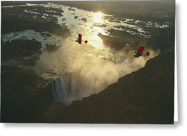 Ultralights Fly Over Mile-wide Victoria Greeting Card by Chris Johns