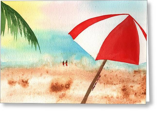 Umbrella On The Beach Greeting Card