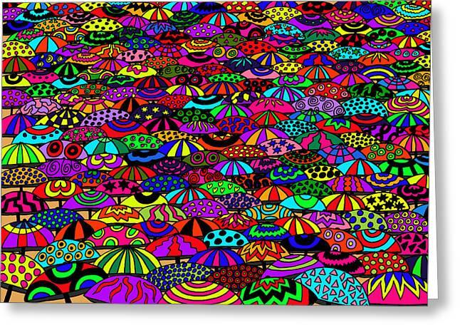 Umbrellas Greeting Card by Karen Elzinga