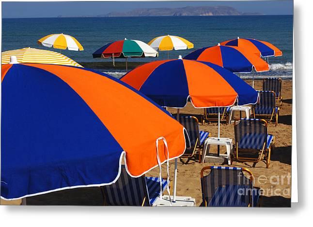 Umbrellas Of Crete Greeting Card by Bob Christopher