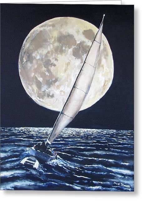 Under Full Sail..under Full Moon Greeting Card by Jack Skinner