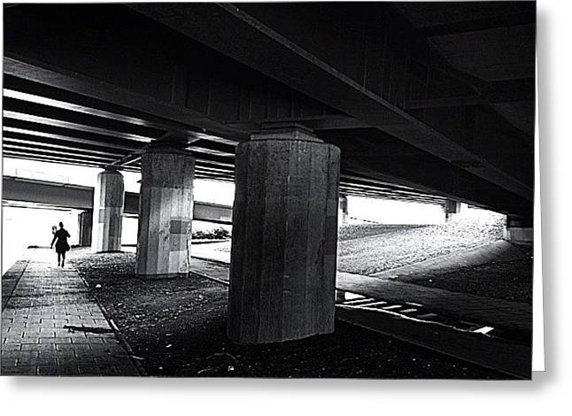 Under The Bridge#bw# #walk #light Greeting Card