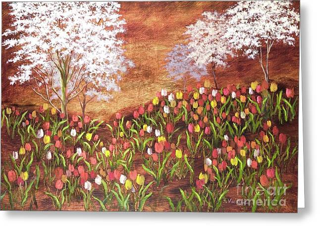 Greeting Card featuring the painting Under The Dogwoods by Vic  Mastis