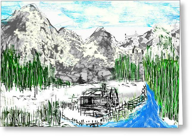 Greeting Card featuring the digital art Under The Mountain by Rc Rcd