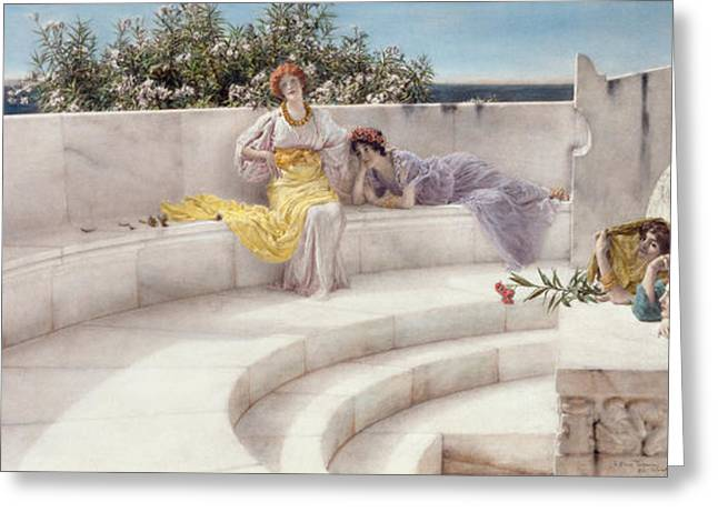 Under The Roof Of Blue Ionian Weather Greeting Card by Sir Lawrence Alma-Tadema