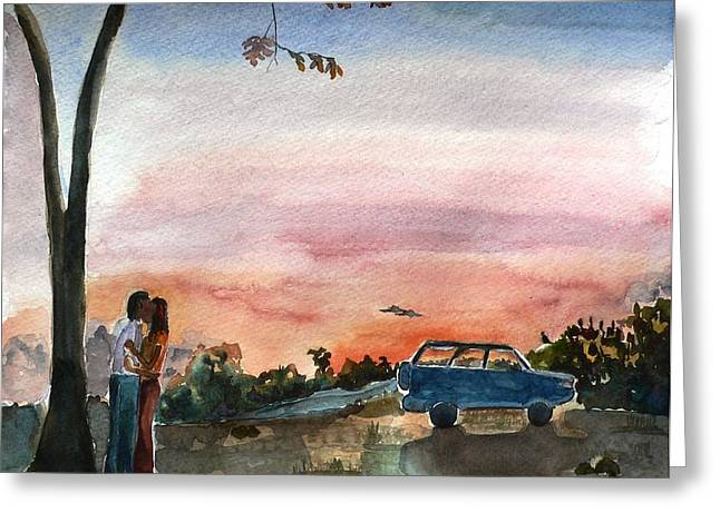 Greeting Card featuring the painting Under The Setting Sun by Geeta Biswas