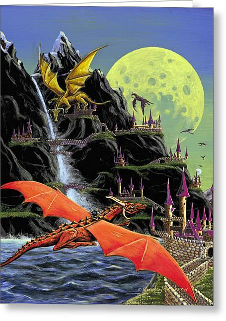 Under The Yellow Moon Greeting Card by Kurt Jacobson