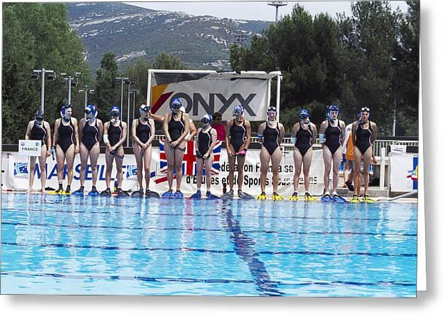 Underwater Hockey Players Greeting Card by Alexis Rosenfeld