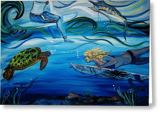 Underwater Surfers Greeting Card by Amanda Dinan