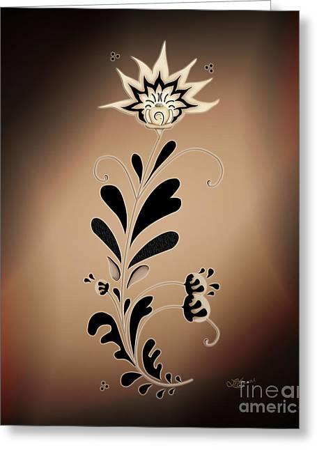 Une Fleur Tribale Beige Greeting Card by Linda Seacord