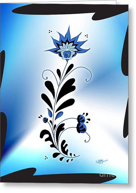 Une Fleur Tribale Bleue Encadree Greeting Card by Linda Seacord