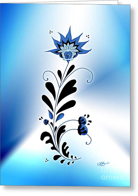 Une Fleur Tribale Bleue Greeting Card by Linda Seacord