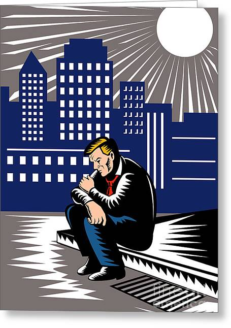 Unemployed Male Worker Sidewalk Greeting Card