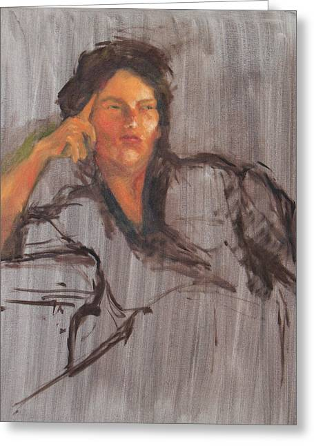 Unfinished Portrait Greeting Card by Becky Kim
