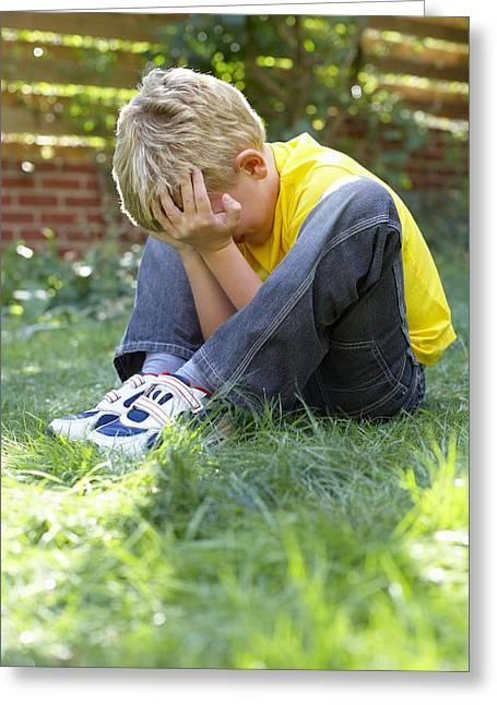 Unhappy Boy Greeting Card