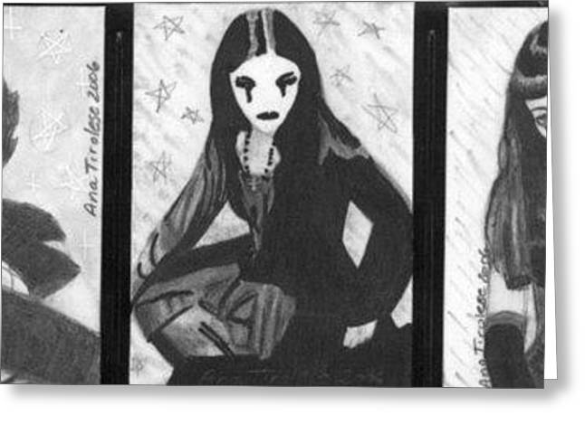 Greeting Card featuring the drawing Unholy Trio - Goth Girls - Aceo by Ana Tirolese