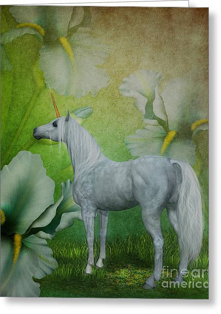 Unicorn And Lilies Greeting Card by Smilin Eyes  Treasures