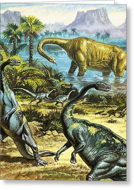 Unidentified Prehistoric Creatures Greeting Card by Roger Payne