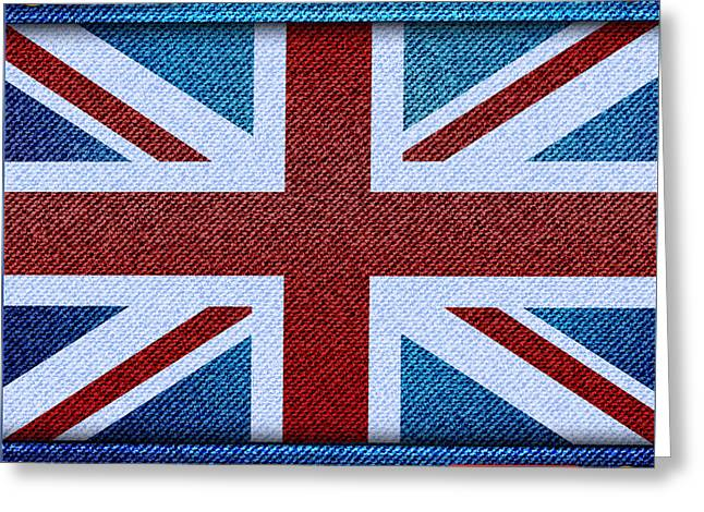 Union Jack Denim Greeting Card by Jane Rix