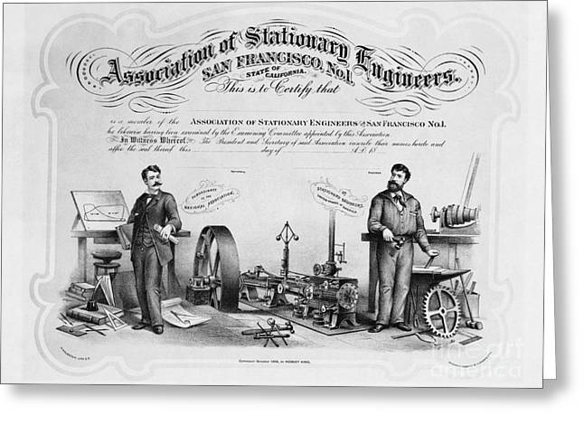 Union Membership Card, 1886 Greeting Card by Photo Researchers