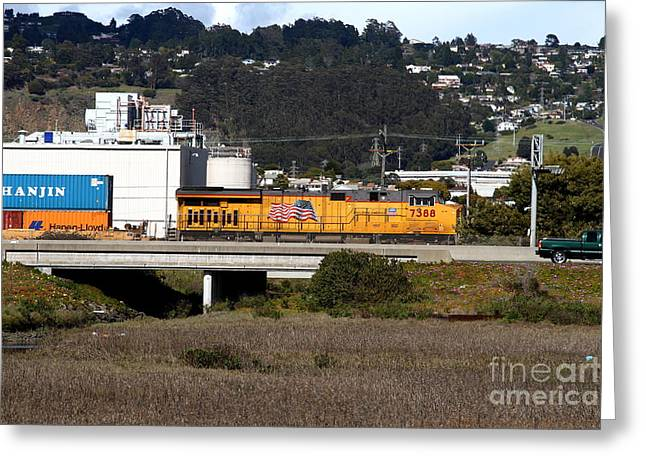 Union Pacific Locomotive Train . 7d15062 Greeting Card by Wingsdomain Art and Photography
