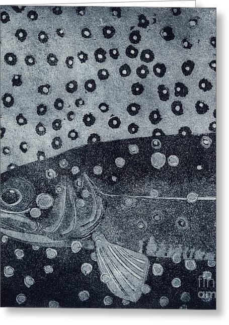 Unique Etching Artwork - Brown Trout  - Trout Waters - Trout Brook - Engraving Greeting Card