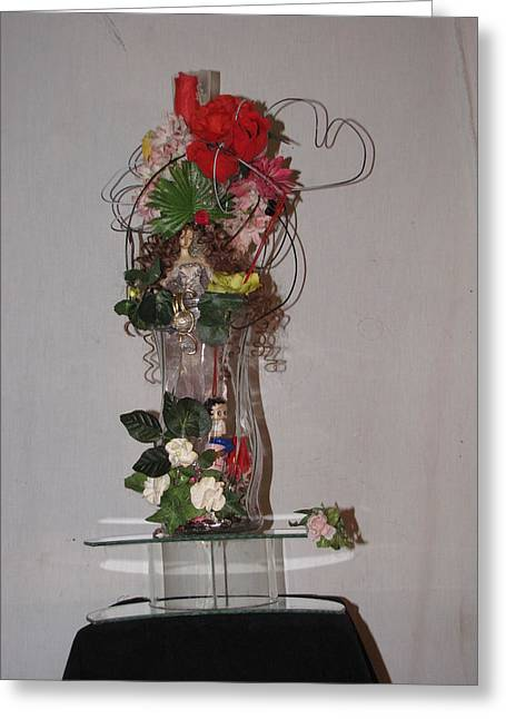 Unique Glass Floral Art Piece Greeting Card by HollyWood Creation By linda zanini