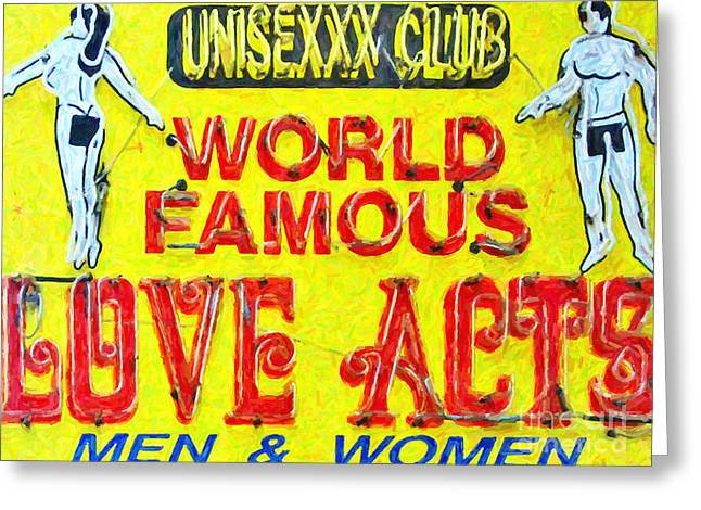 Unisexxx Club Greeting Card by Wingsdomain Art and Photography